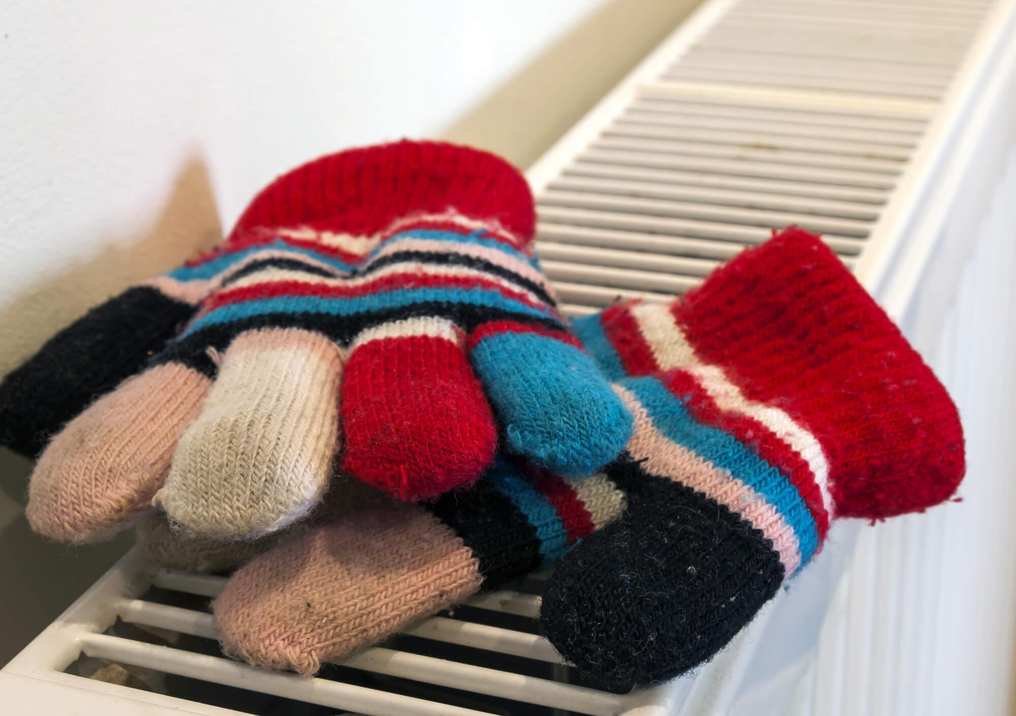 Gloves on radiator