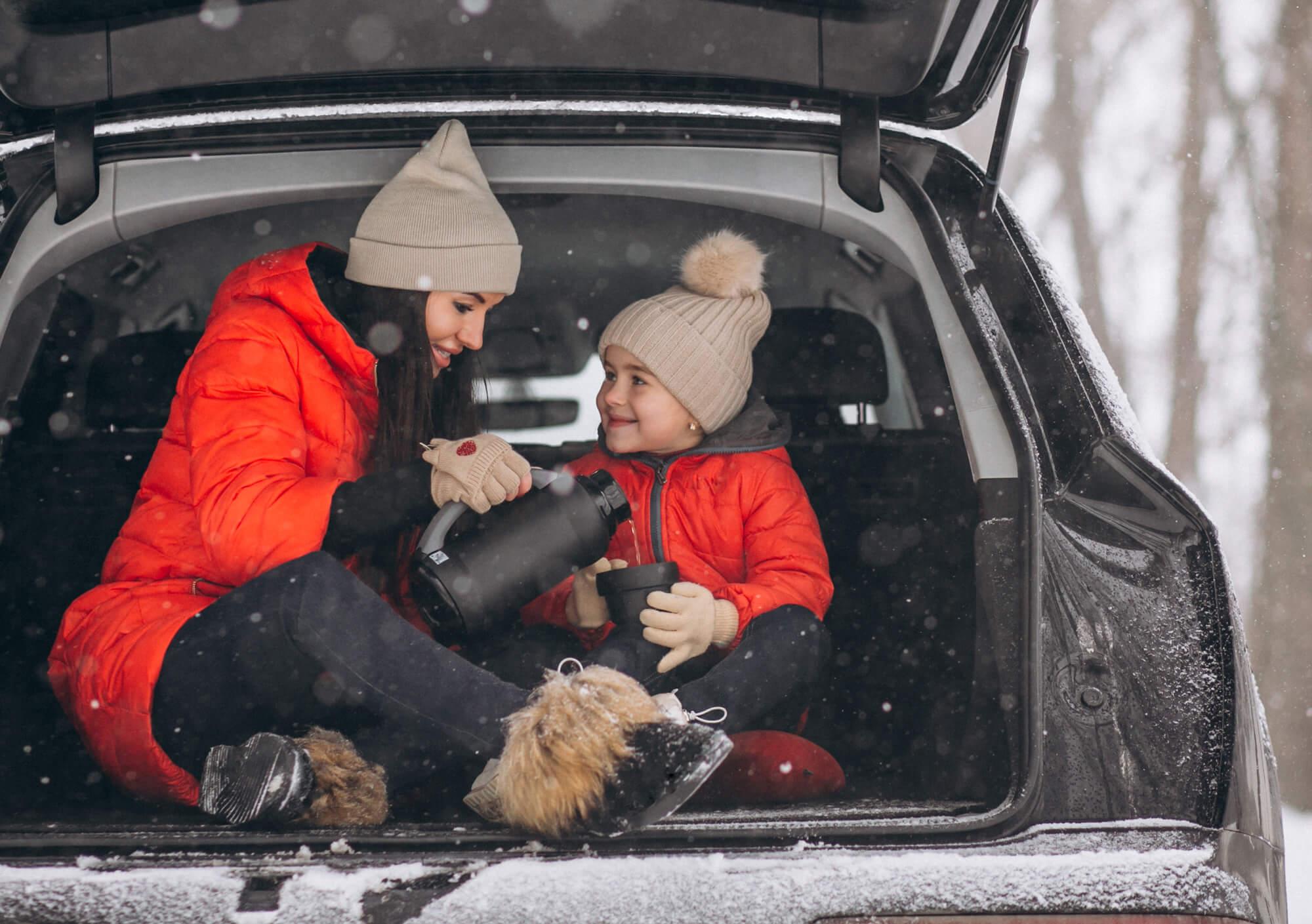 Family inside their car