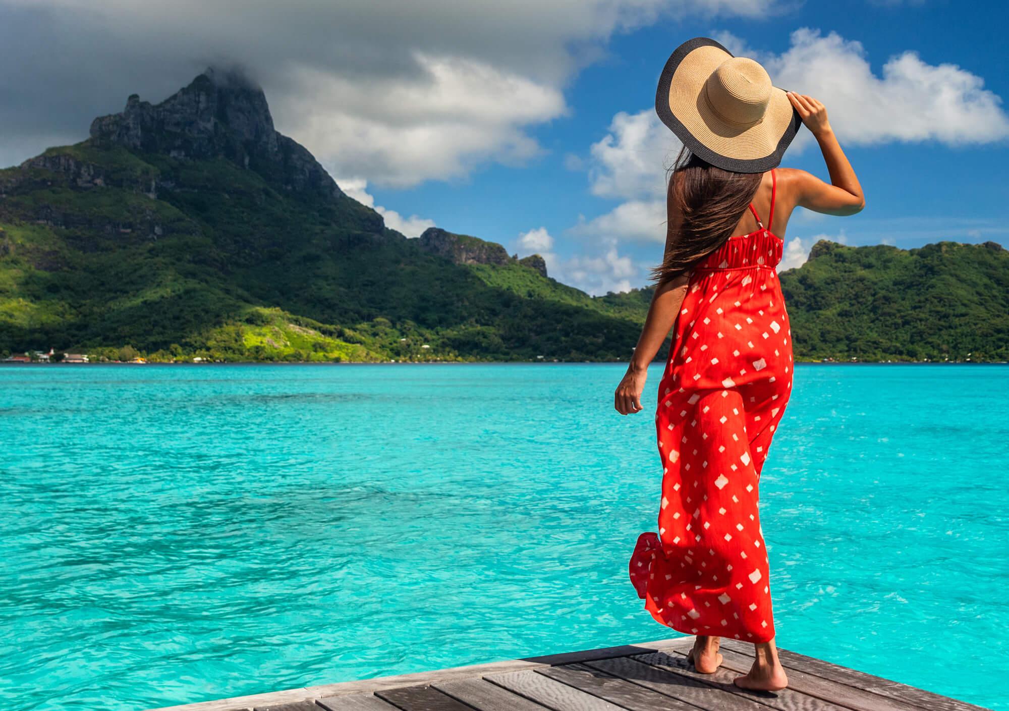 Women looking out to sea in Bora Bora