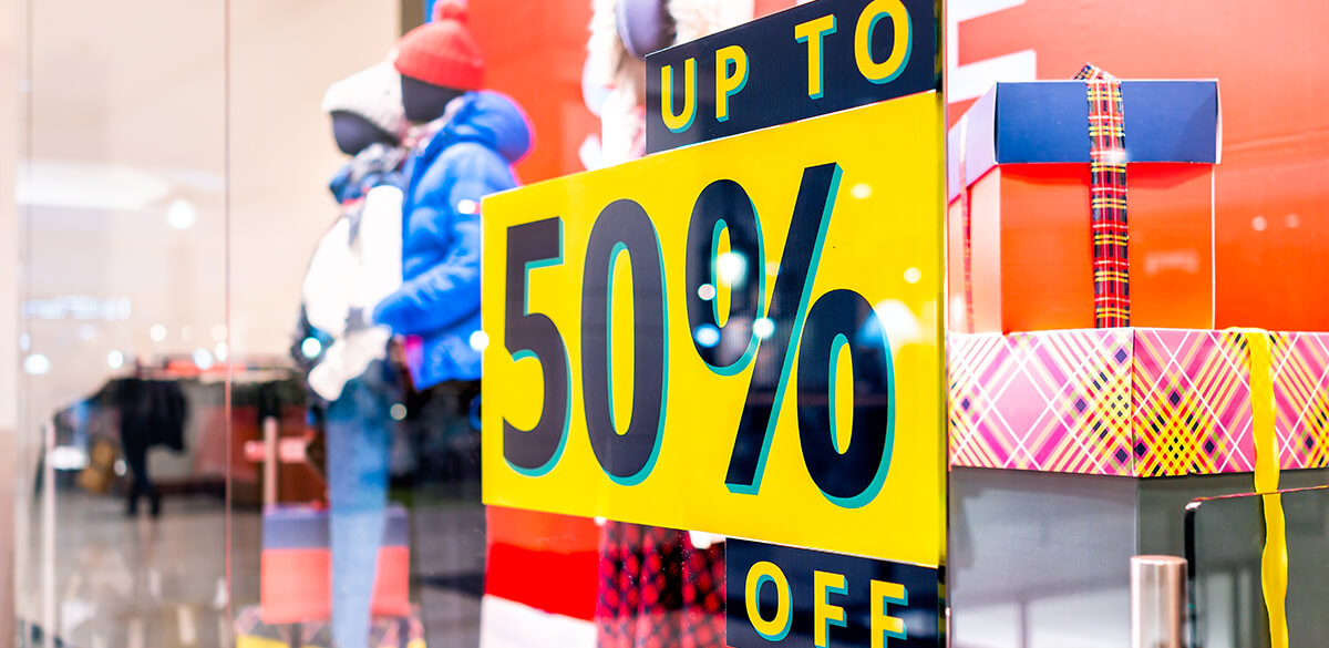 Up to 50% off sales sign