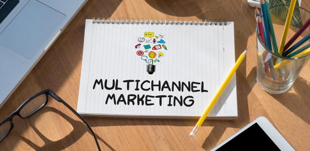 Multichannel marketing written on a sketch pad