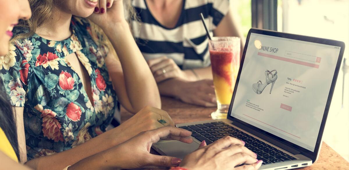 Women browsing shoe websites
