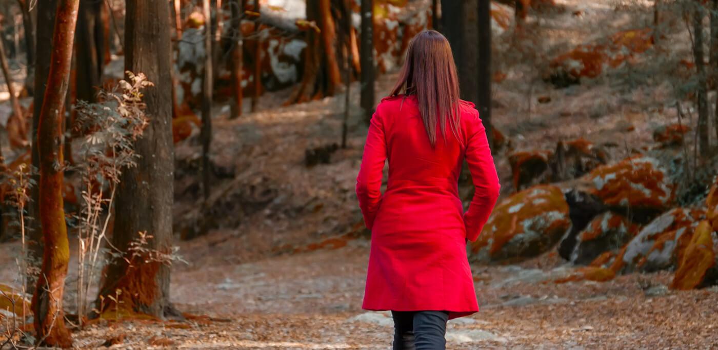 Women in red leaving