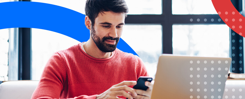 Man reading SMS text