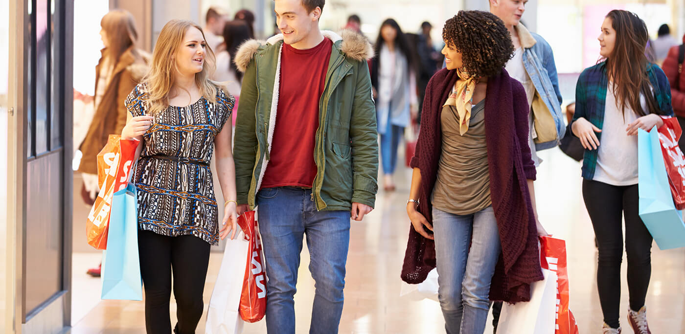 Group of shoppers walking