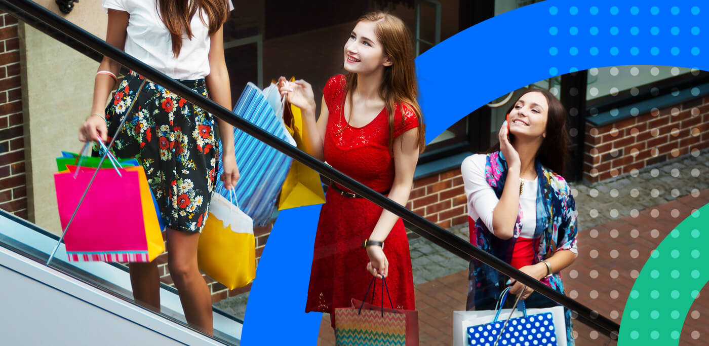 Three women out on a shopping spree