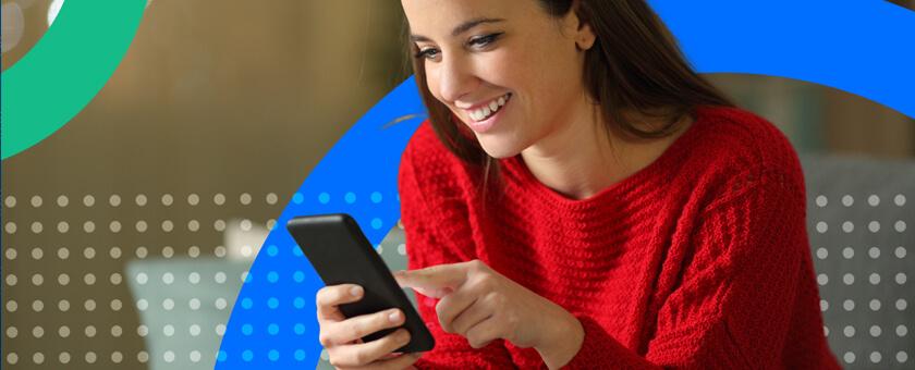 Happy women on mobile